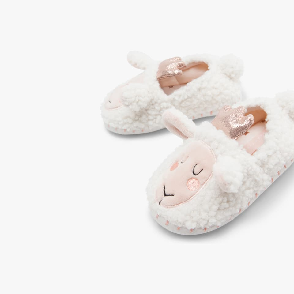 SHEEP-SHAPED SLIPPERS WITH CROWN
