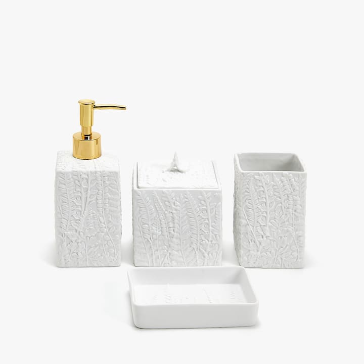 image of the product raised fern design ceramic bathroom set - White Bathroom Accessories Ceramic