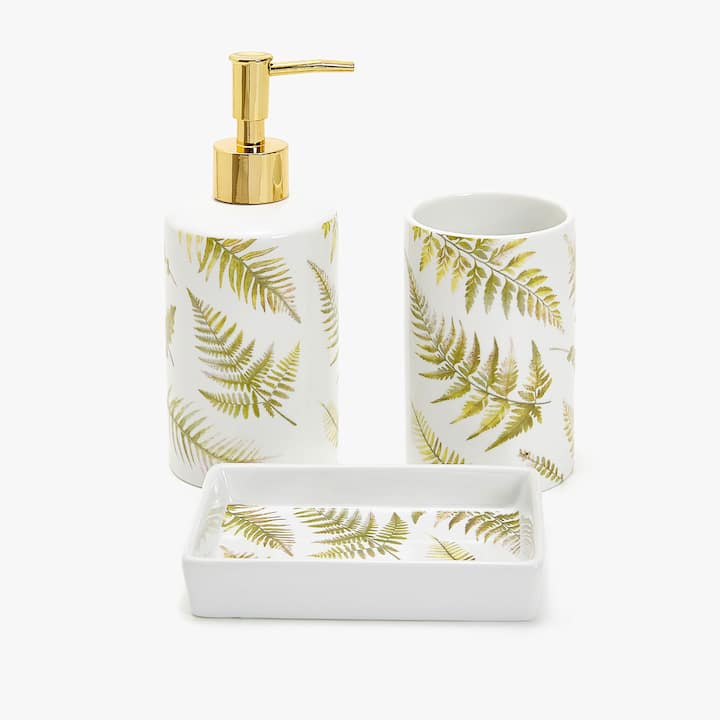 image of the product fern transfer bathroom set - Funky Bathroom Accessories Uk