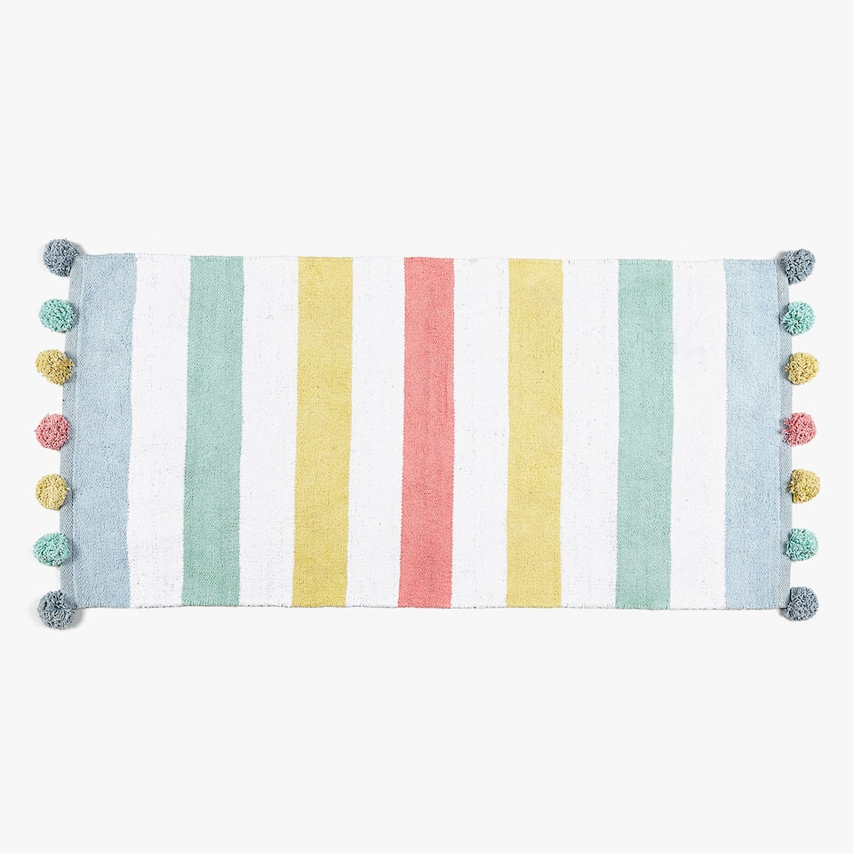 MULTICOLOURED STRIPED CHENILLE COTTON RUG