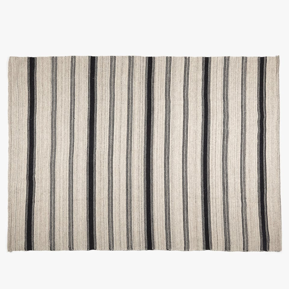 BLACK STRIPES WOVEN RUG
