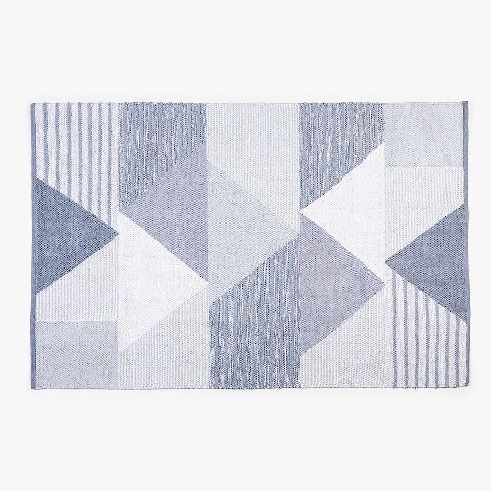 TAPIS COTON TRIANGLES GRIS PATCHWORK