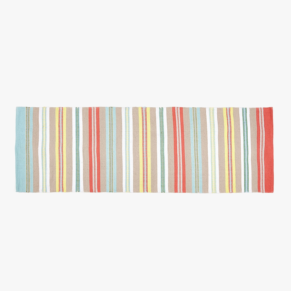 MULTICOLOURED STRIPED COTTON HALL RUG