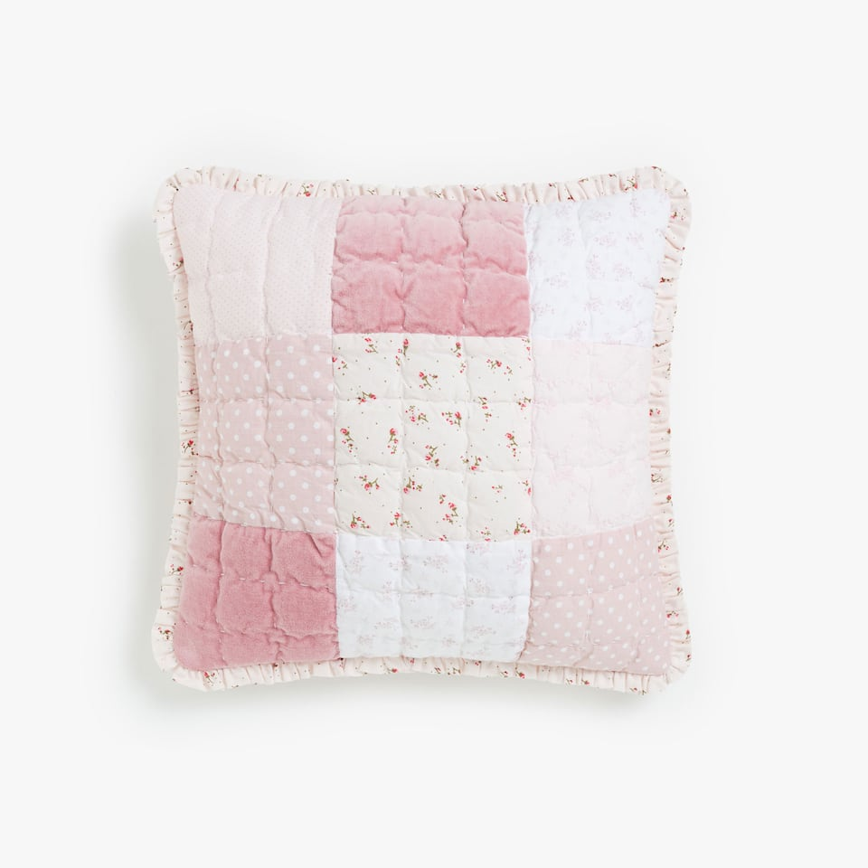 PATCHWORK COTTON CUSHION COVER WITH VELVET AND FRILL