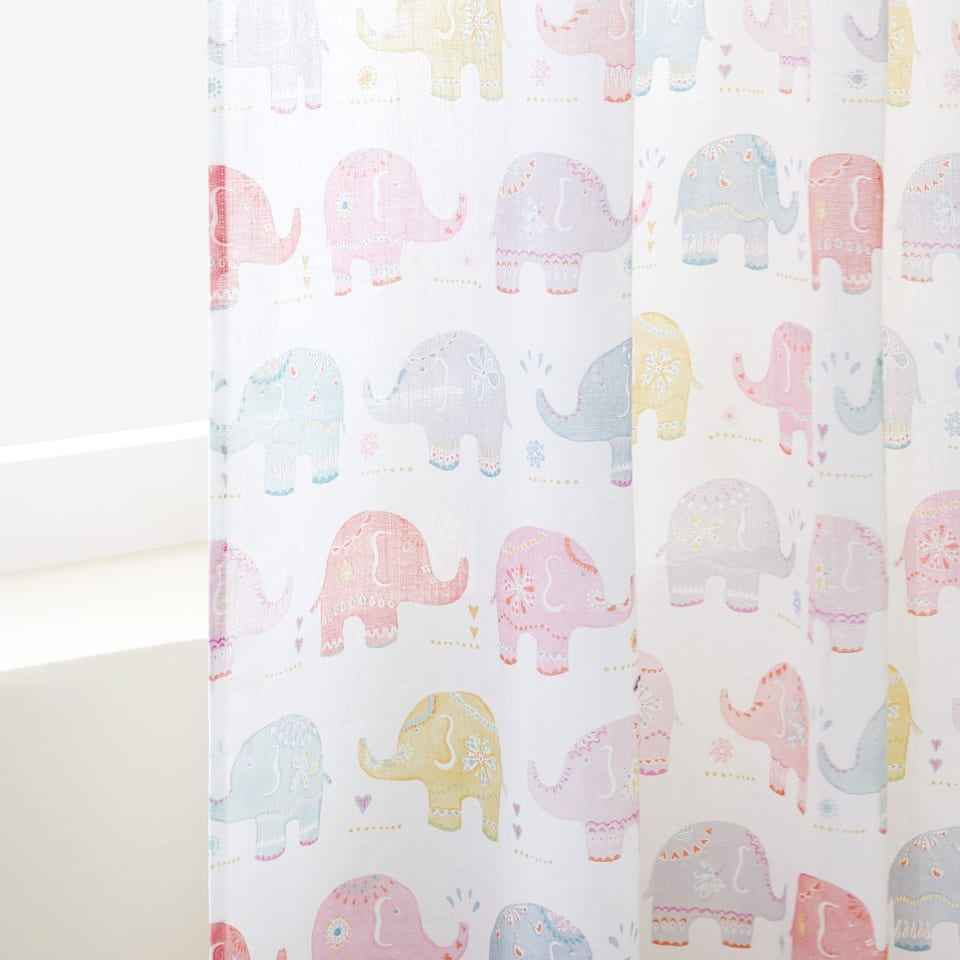 ELEPHANT PRINT COTTON CURTAIN