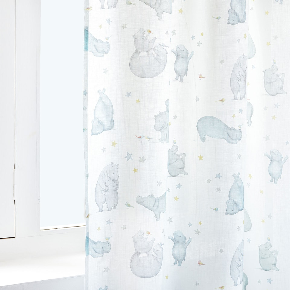 HIPPO PRINT COTTON CURTAIN