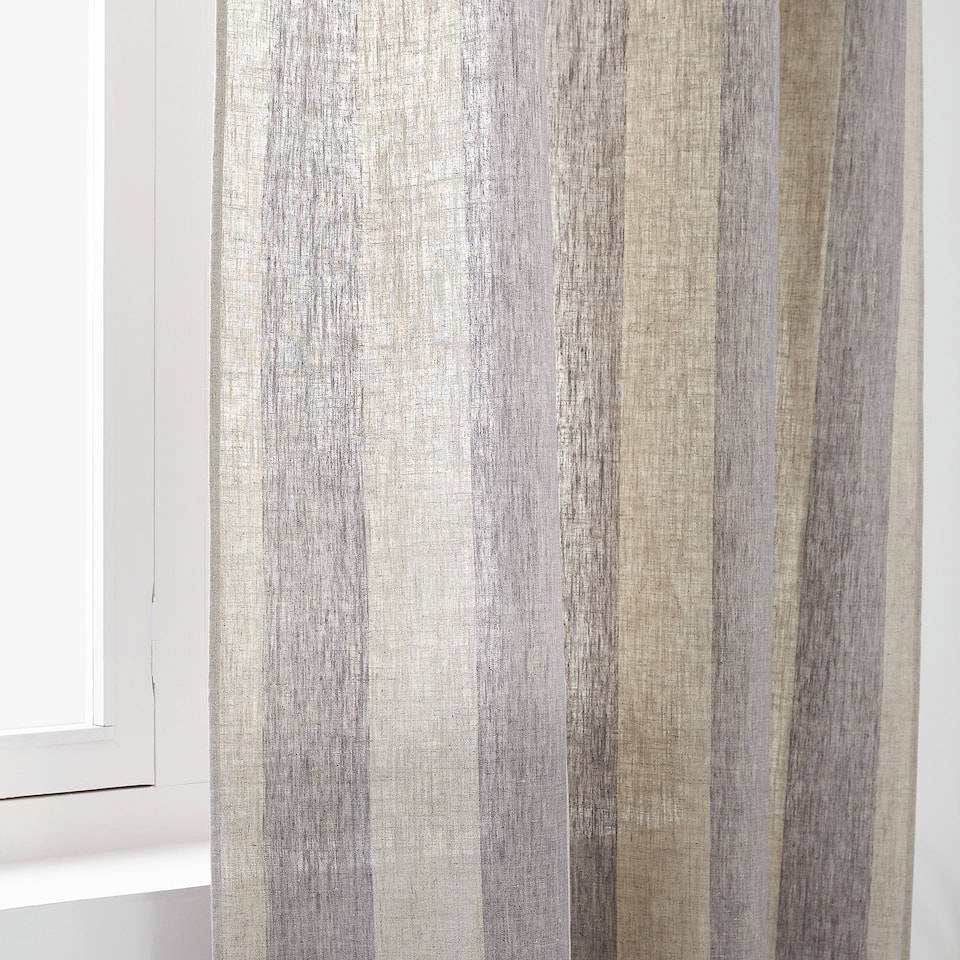 TWO-TONE STRIPED LINEN CURTAIN