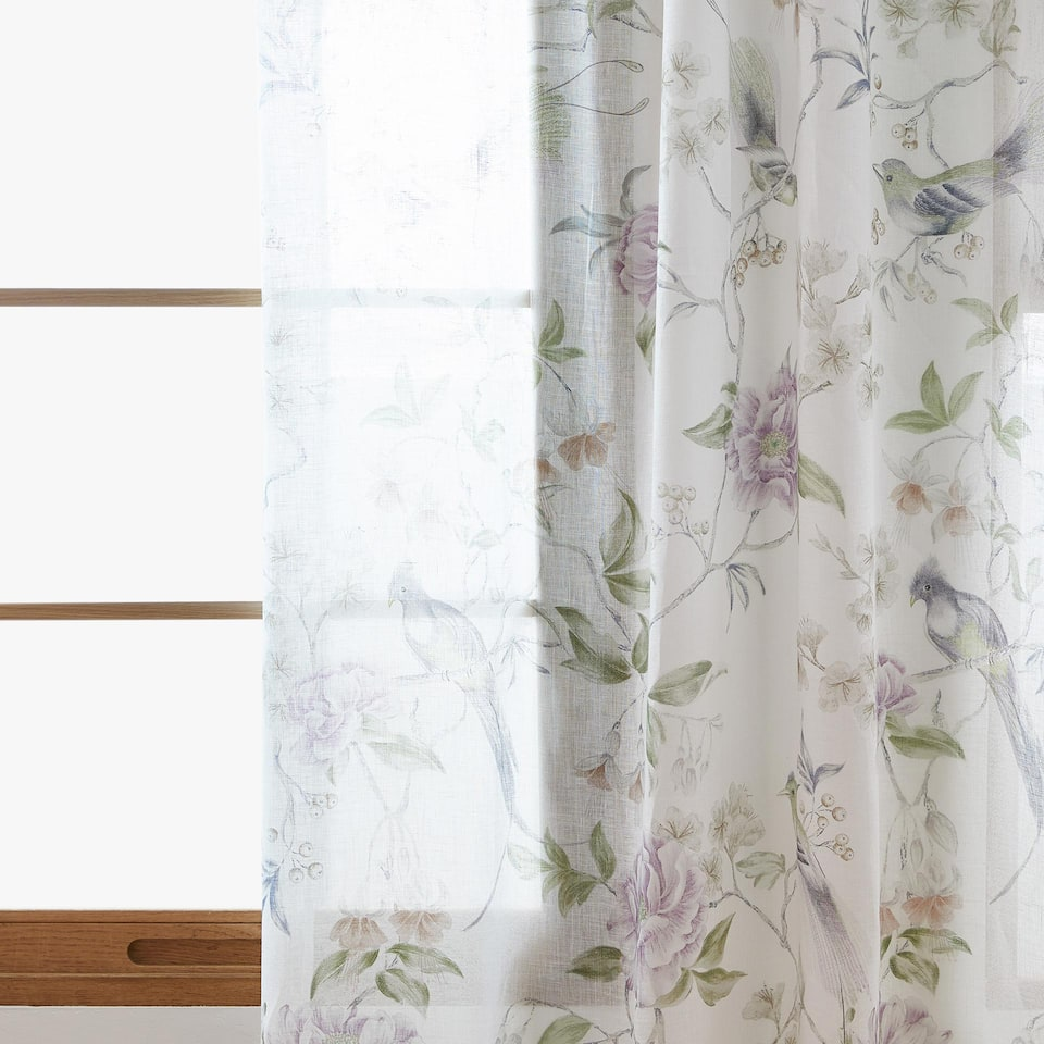 BIRD AND FLOWER PRINT LINEN CURTAIN