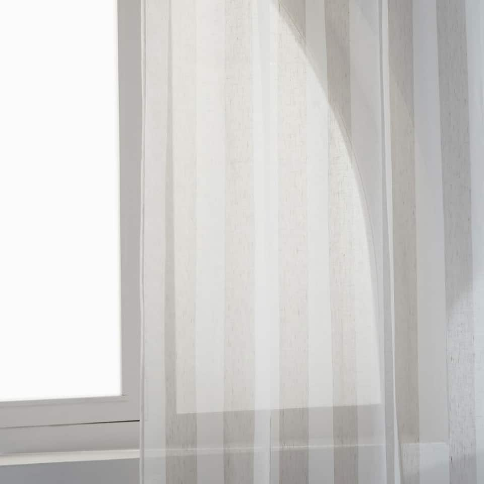 SHEER TWO-TONE STRIPED CURTAIN