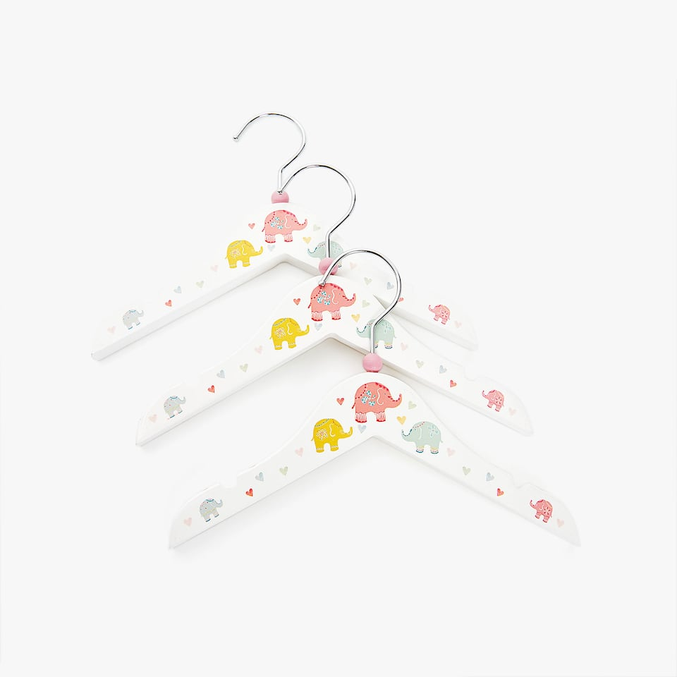 CINTRE ÉLÉPHANTS MULTICOLORES (LOT DE 3)
