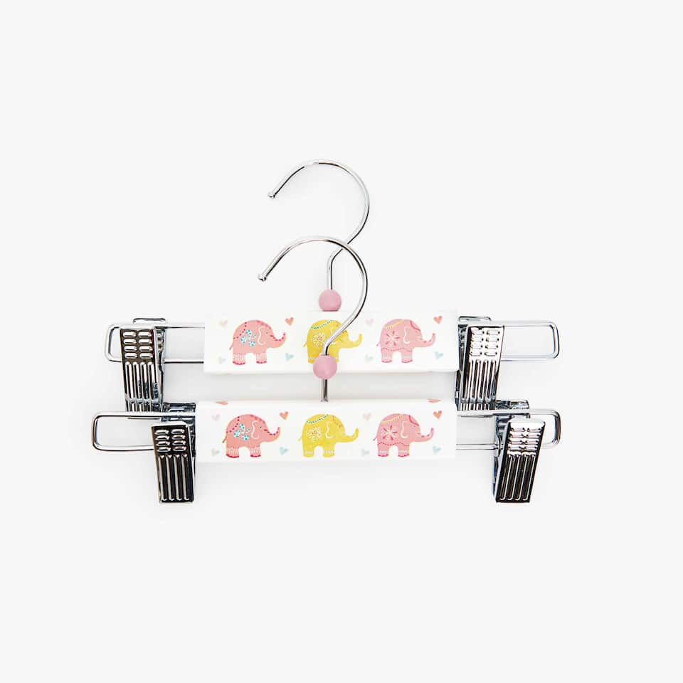 CINTRE À PINCES ÉLÉPHANTS MULTICOLORES (LOT DE 2)