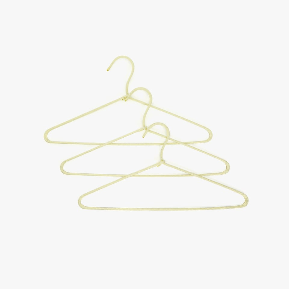 YELLOW HANGER WITH RAISED CORD DETAIL (SET OF 3)