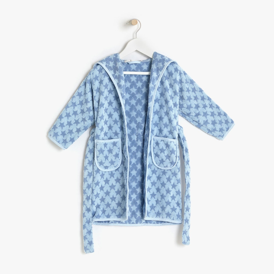 KIDS' COTTON BATHROBE WITH STARS