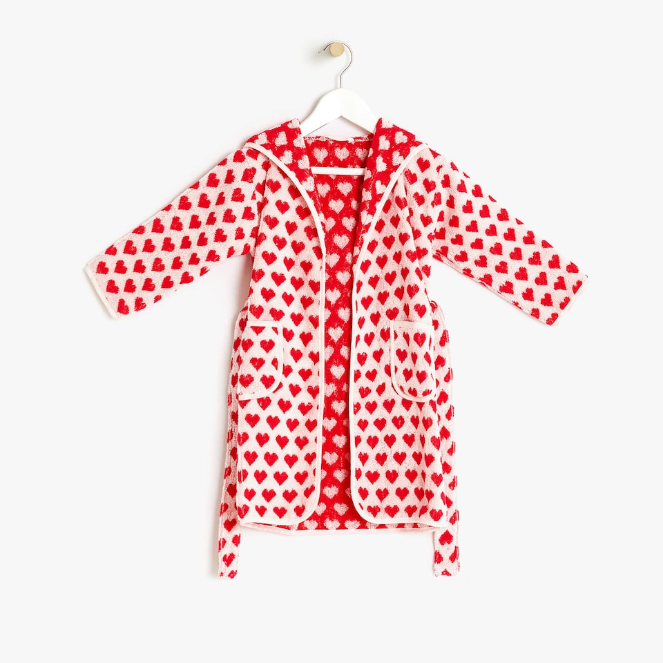 KIDS' COTTON BATHROBE WITH HEARTS
