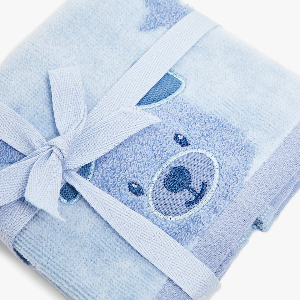 COTTON TOWEL WITH TEDDY BEAR DESIGN (SET OF 2)