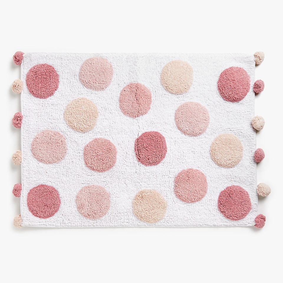 BATH MAT WITH PINK POLKA DOTS