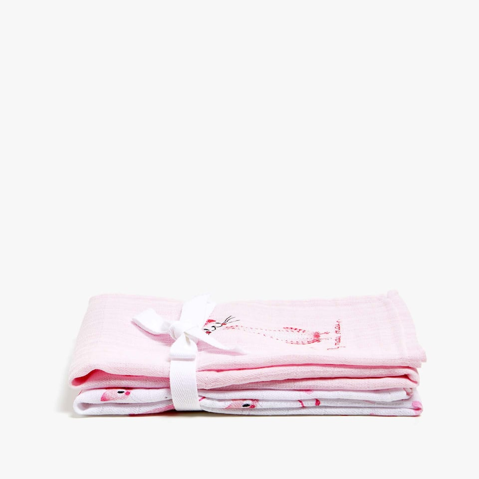 SERVIETTE BÉBÉ PETIT CHAT (LOT DE 2)