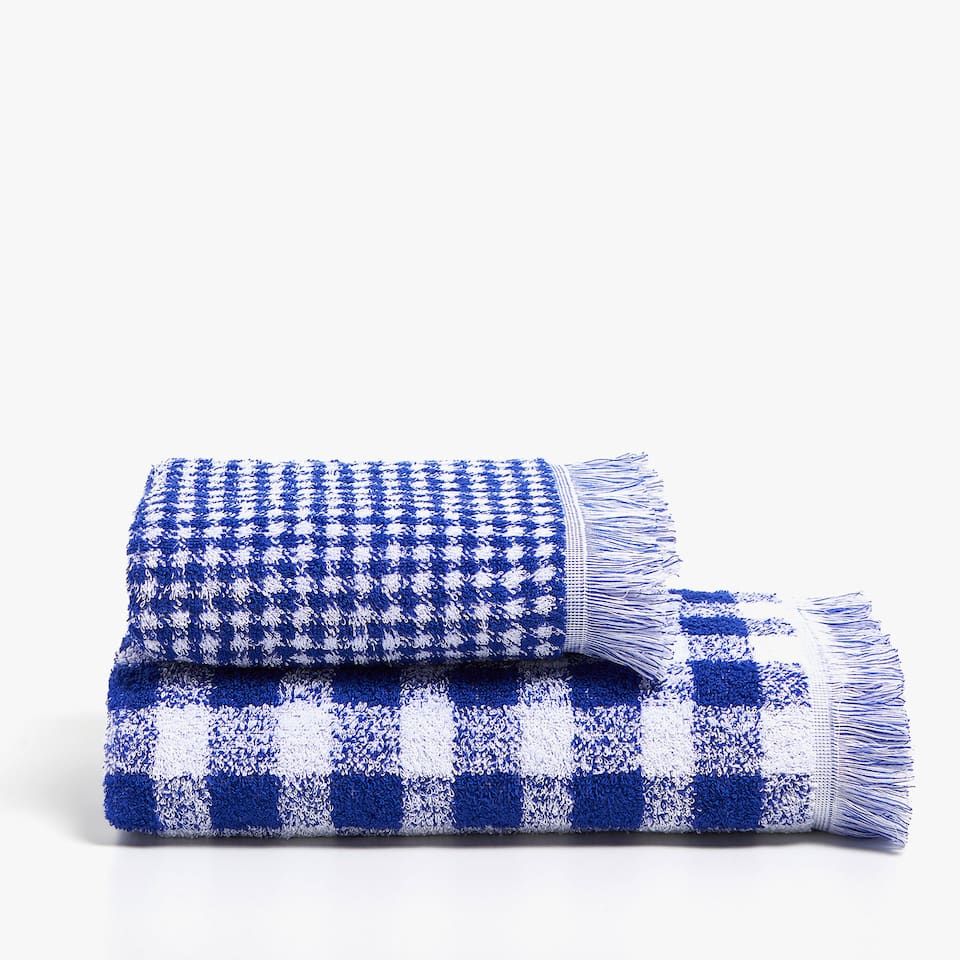 CHECKED COTTON JACQUARD TOWEL