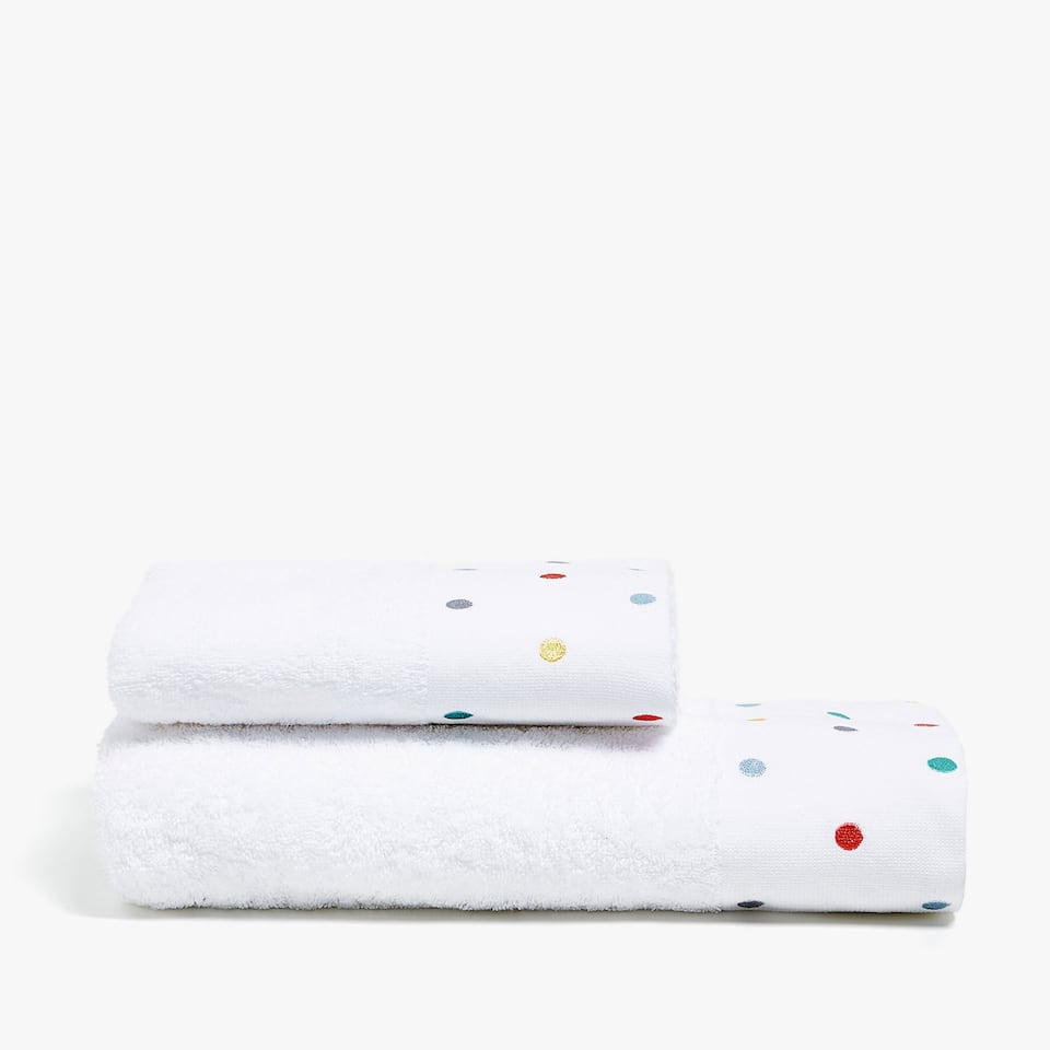 COTTON TOWEL WITH POLKA DOT BORDER