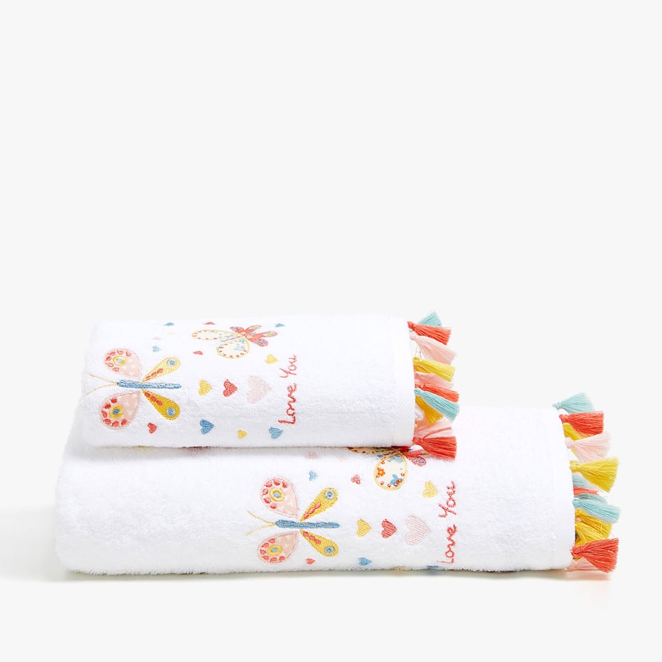 COTTON TOWEL WITH BUTTERFLIES AND TASSELS