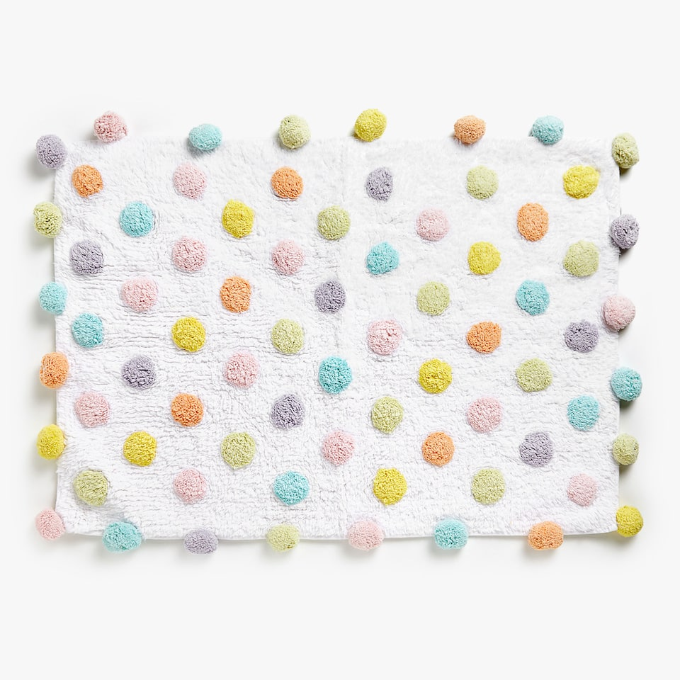 POLKA DOT COTTON BATH MAT
