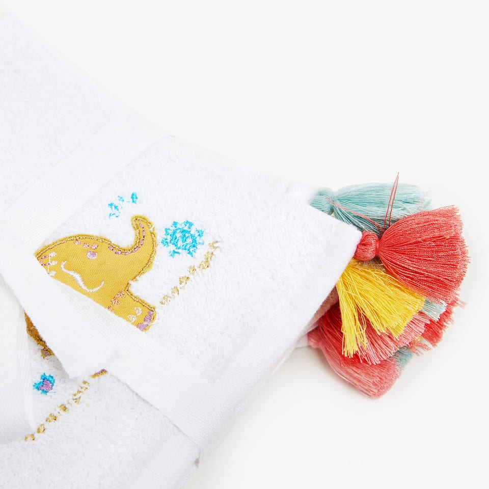 COTTON TOWEL WITH ELEPHANTS AND TASSELS (SET OF 3)