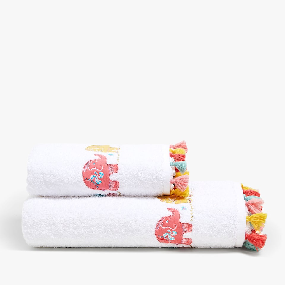 COTTON TOWEL WITH ELEPHANTS AND TASSELS