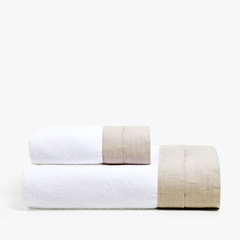 COTTON TOWEL WITH LINEN BORDER