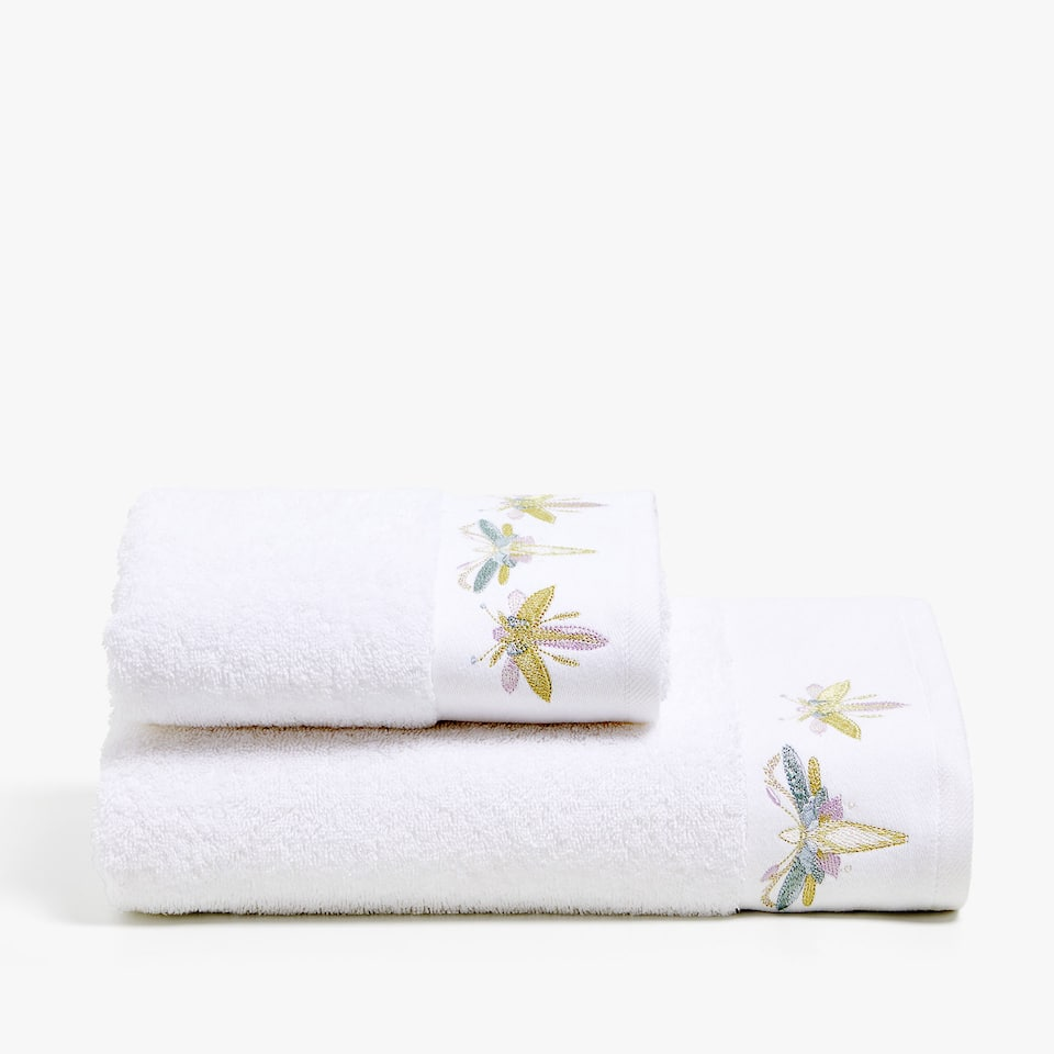 COTTON TOWEL WITH DRAGONFLY DETAIL