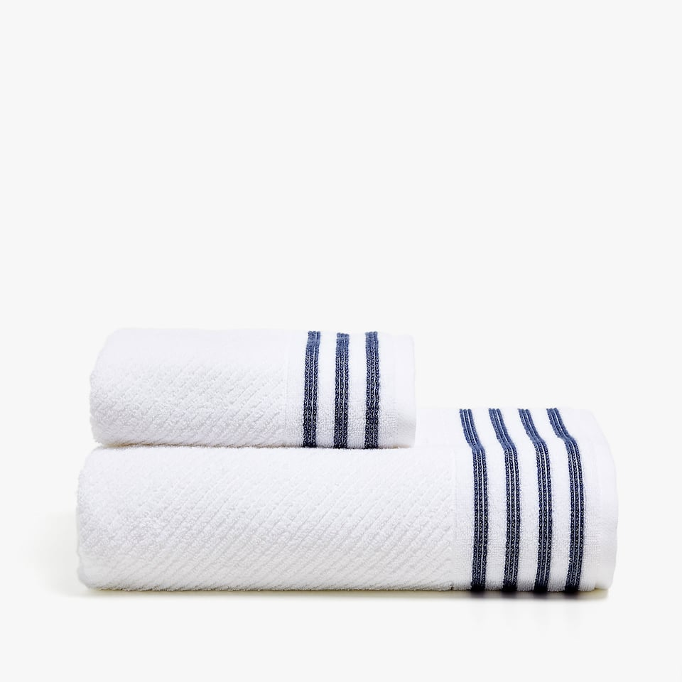 COTTON TOWEL WITH STRIPED BORDER