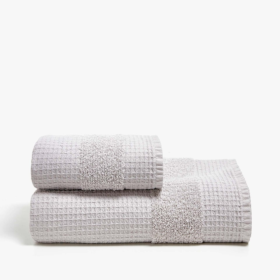 WAFFLE KNIT COTTON TOWEL WITH BORDER