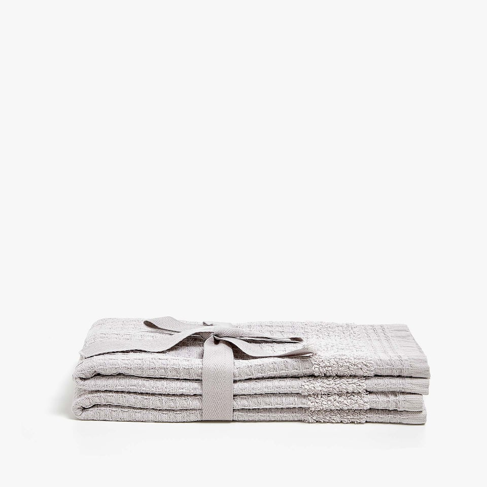 WAFFLE KNIT COTTON TOWEL WITH BORDER (SET OF 2)