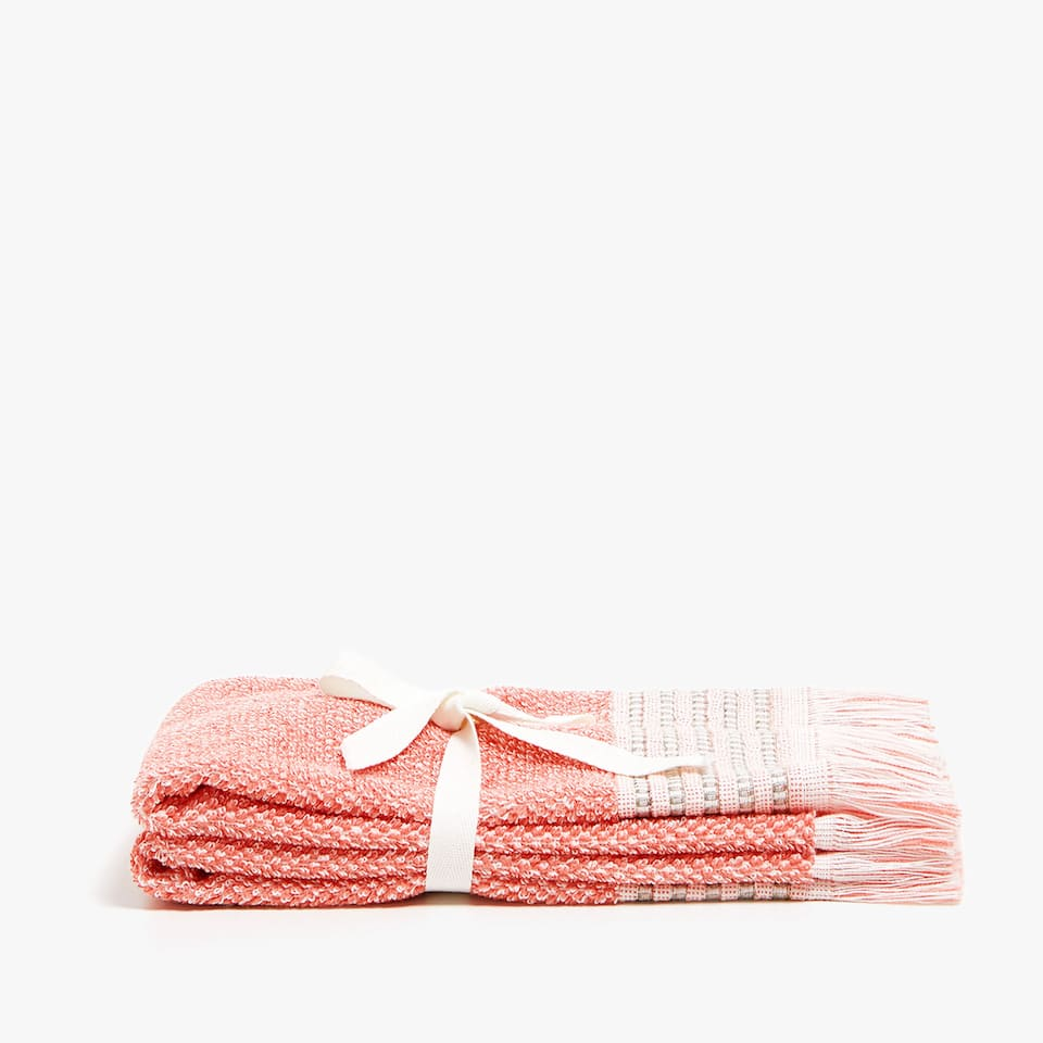 COTTON TOWEL WITH EMBROIDERED LINEN BORDER (SET OF 2)