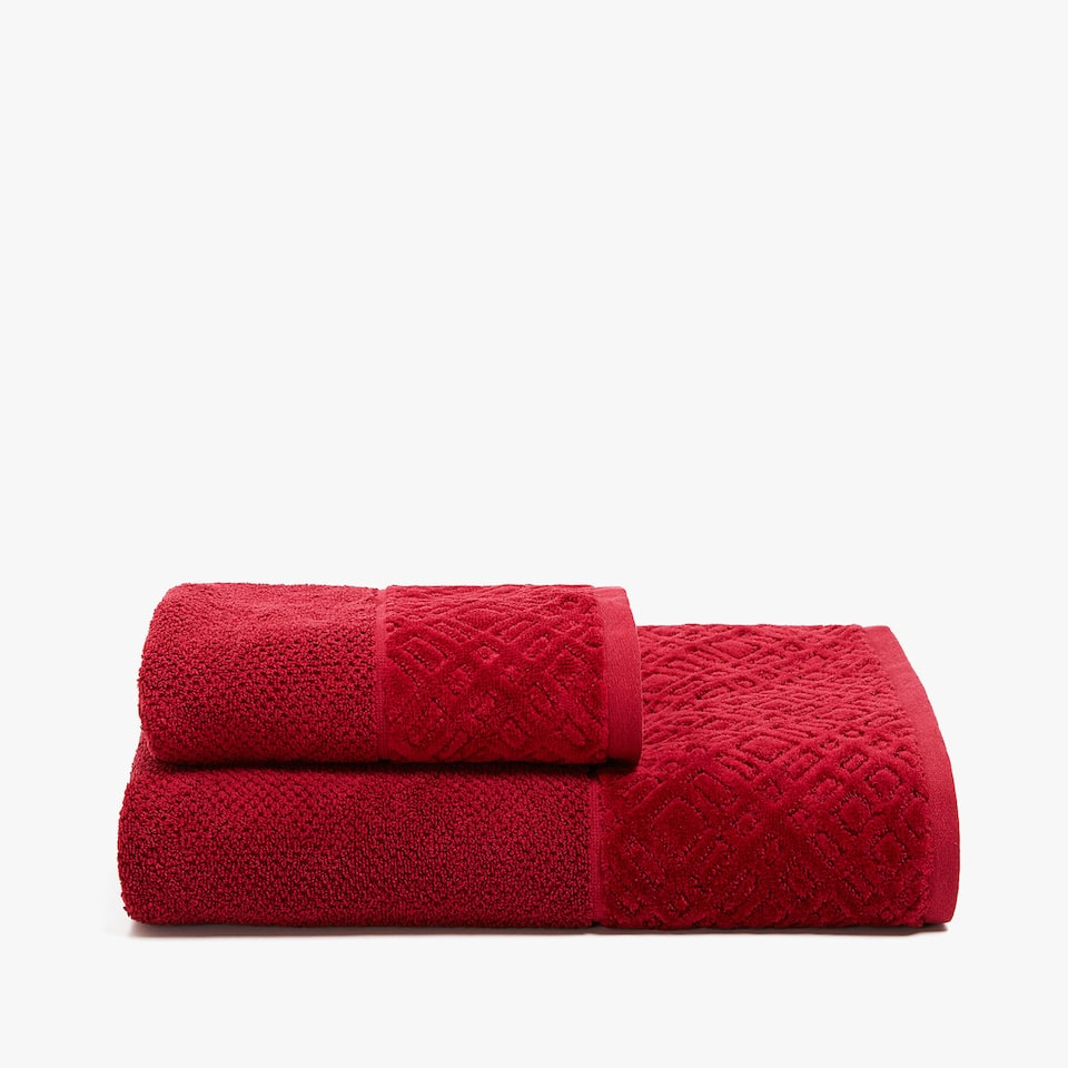 VELVET-STRIPED COTTON TOWEL