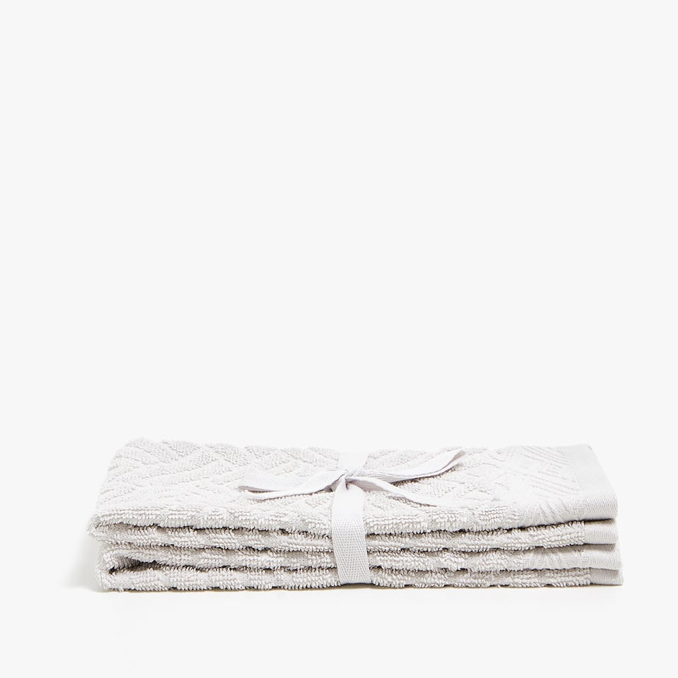 JACQUARD-STRIPED COTTON TOWEL (SET OF 2)