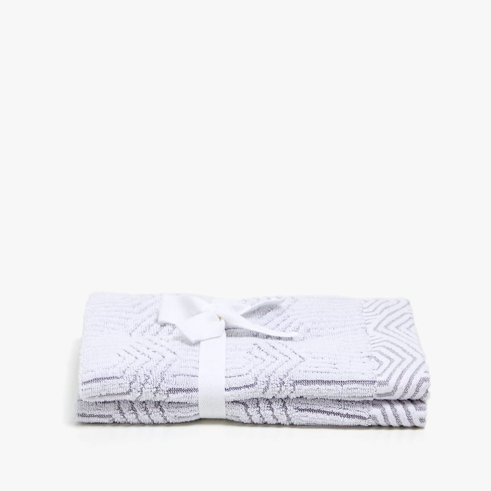 GEOMETRIC DESIGN COTTON TOWEL (SET OF 2)