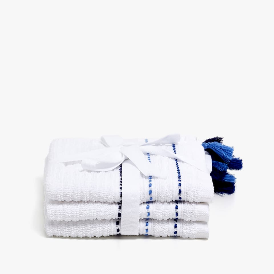 COTTON TOWEL WITH TASSELED BORDER (SET OF 3)