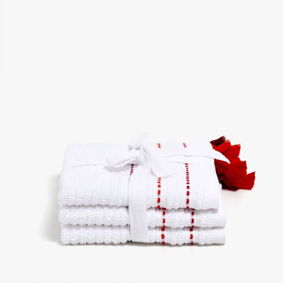 COTTON TOWEL WITH TASSELLED BORDER (SET OF 3)