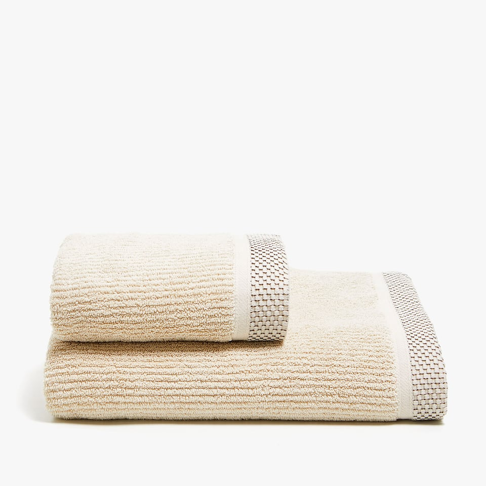 COTTON TOWEL WITH JACQUARD STRIPE