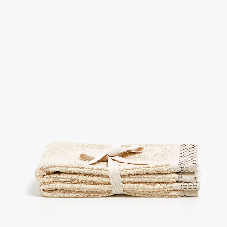 COTTON TOWEL WITH JACQUARD STRIPE (SET OF 2)