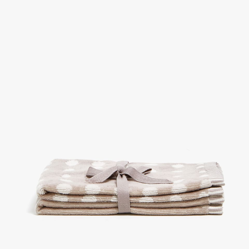 POLKA DOT VELVET COTTON TOWEL (SET OF 2)