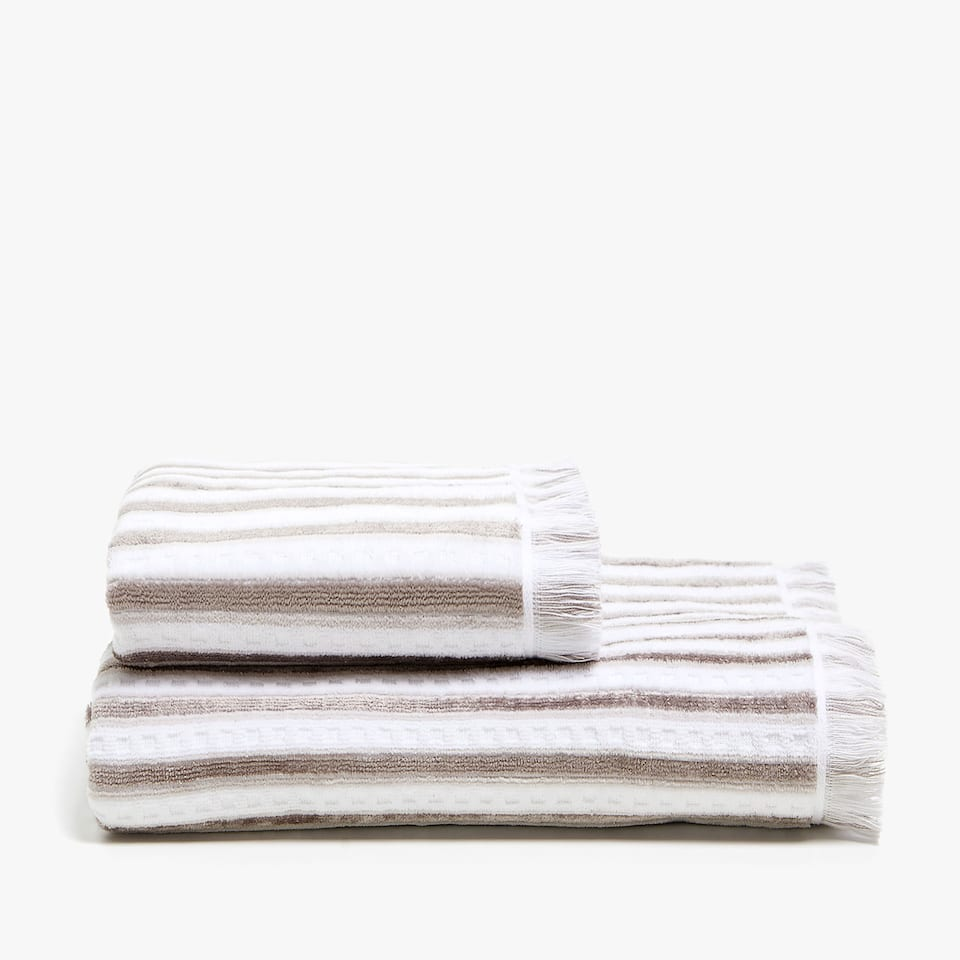 VELVET STRIPED TOWEL
