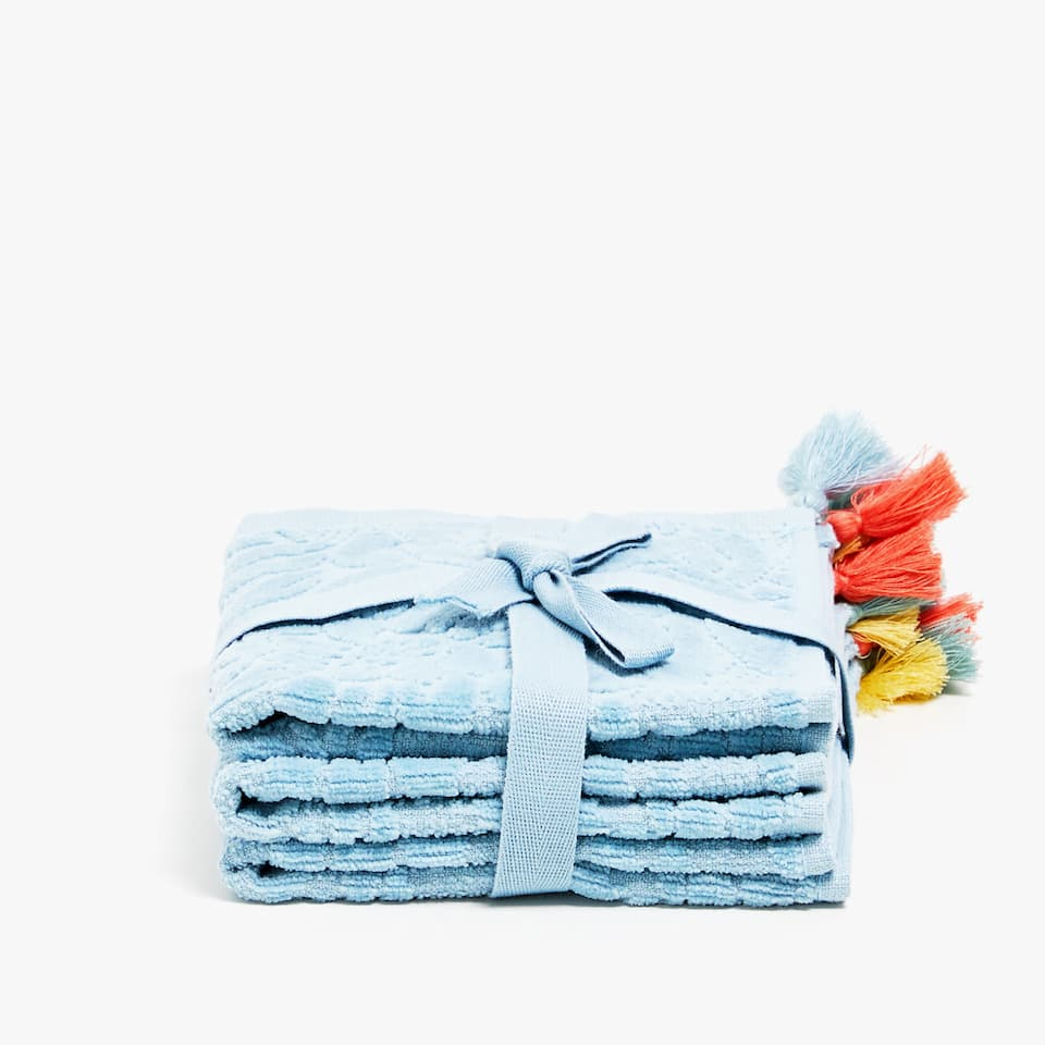 VELVET COTTON TOWEL WITH TASSELS (SET OF 3)