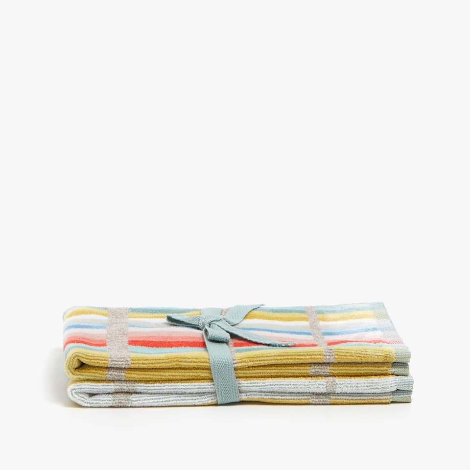 COTTON TOWEL WITH MULTICOLOURED LINES (SET OF 2)