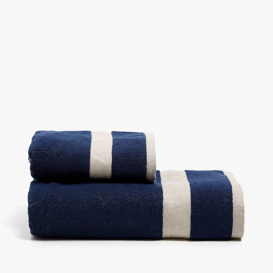 COTTON TOWEL WITH LINEN STRIPES