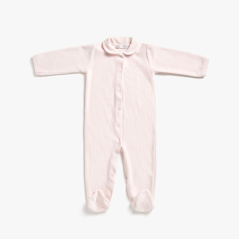 COTTON ROMPER SUIT WITH CLASSIC COLLAR