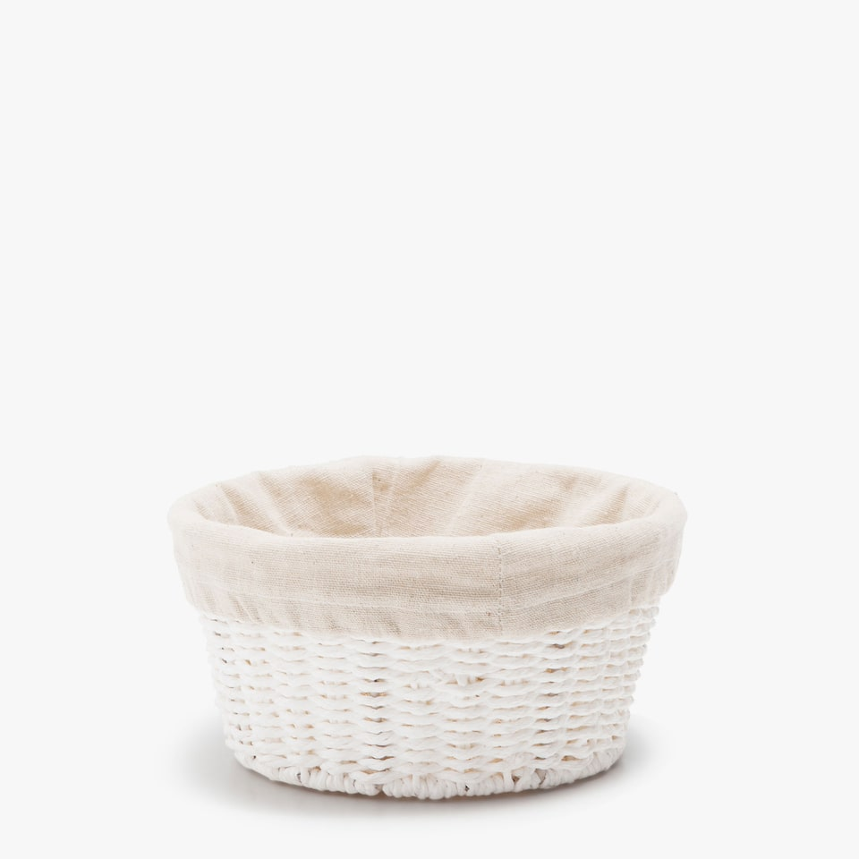 FABRIC-LINED LOW ROUND BASKET