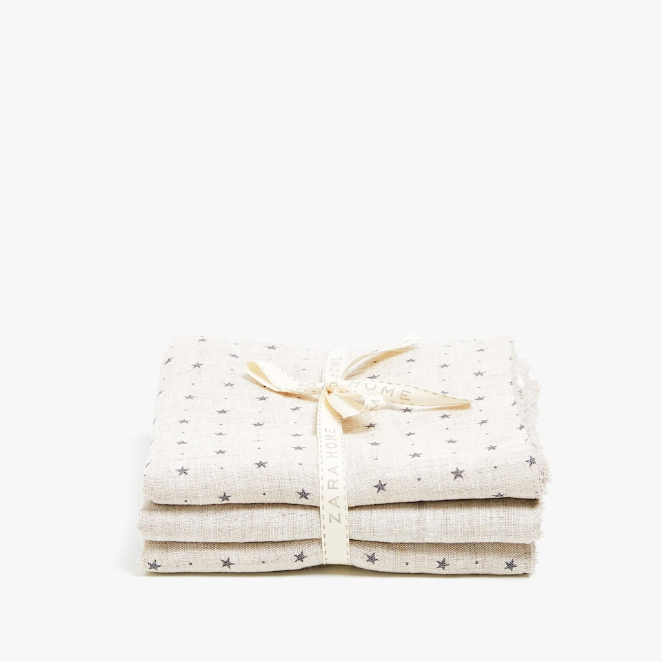 STAR PRINT LINEN TOWEL (SET OF 3)