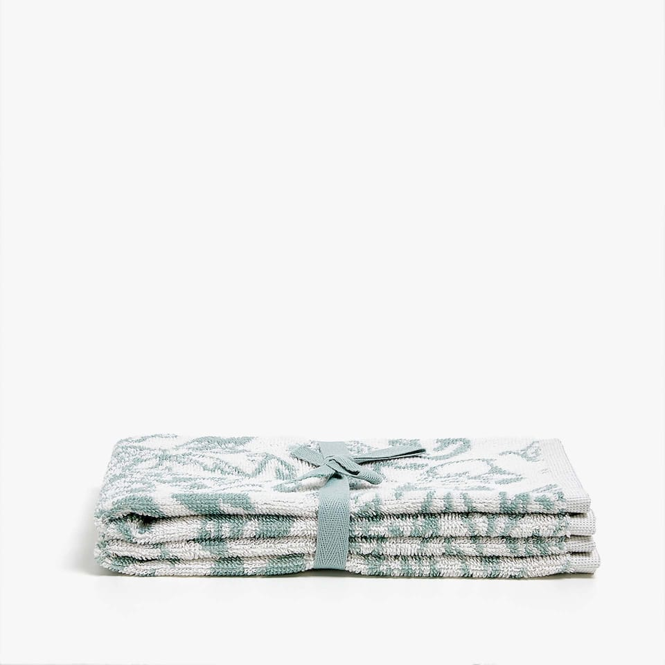 LEAF PRINT COTTON TOWEL (SET OF 2)