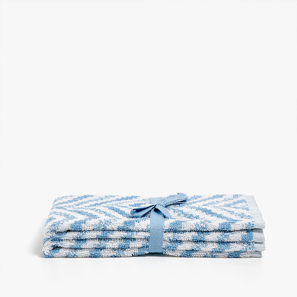 ZIGZAG PRINT COTTON TOWEL (SET OF 2)